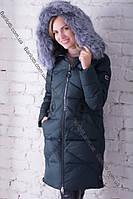 Модный длинный пуховик с натуральным мехом чернобурки Peercat 17-1728 Изумруд