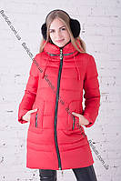 Красивый женский пуховик длинный Peercat 17-5109 Красный