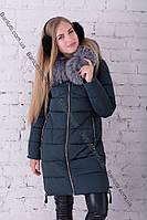 Стильный женский пуховик длинный натуральный мех чернобурки зима 2018 Peercat 17-5112 Изумруд