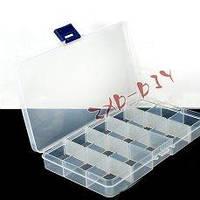 Контейнер из пластика, для бусин, бисера, паеток и других мелочей, 15 ячеек, ячейки съемные, 17510023мм.
