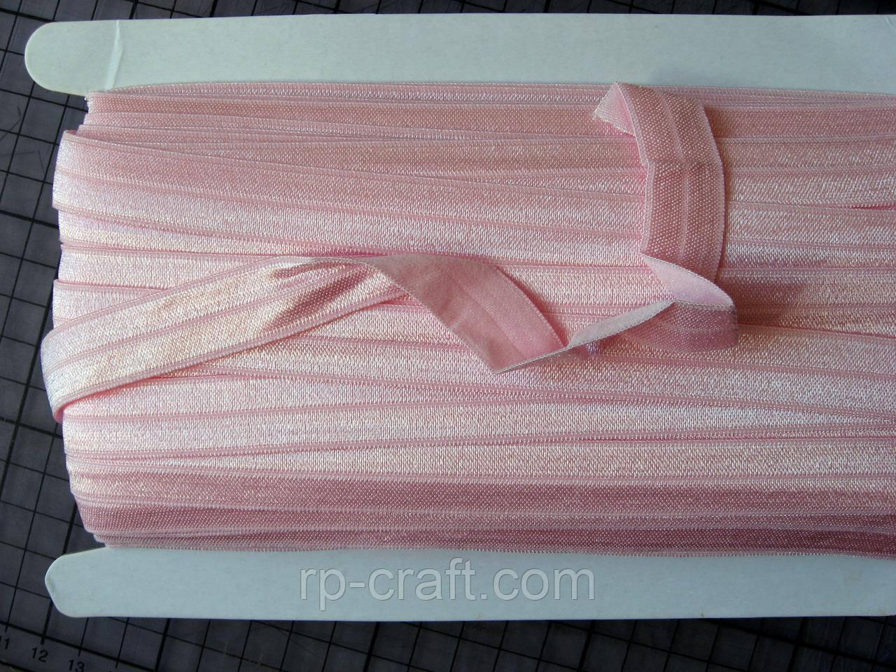 Трикотажная бейка, резинка, светло-розовая, 16 мм