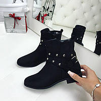 Женские демисезонные ботиночки чёрные Ремешок