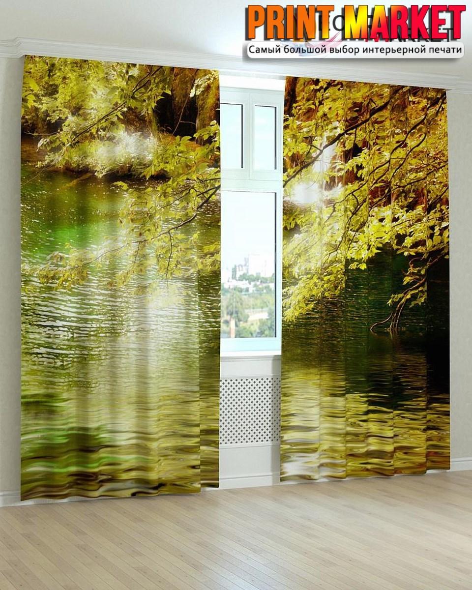 Фотошторы листья над водой