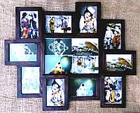 Деревянная эко мультирамка, коллаж #211 венге, орех, белый, чёрный., фото 1