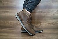Мужские зимние с нат.кожи ботинки Yuves Оливка 10482 размеры: 40 41 42 43 44 45
