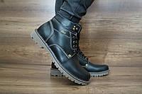 Мужские зимние с нат.кожи ботинки PAV Черные 10485 размеры: 40 41 42 43 44 45