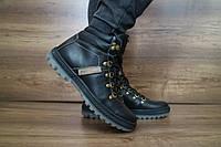 Мужские зимние с нат.кожи ботинки PAV Черные 10486 размеры: 40 41 42 43 44 45