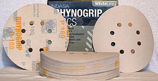 Шлифовальные круги INDASA RHYNOGRIP DISCS (White Line) 125 мм., 8 отверстий, 50 шт.