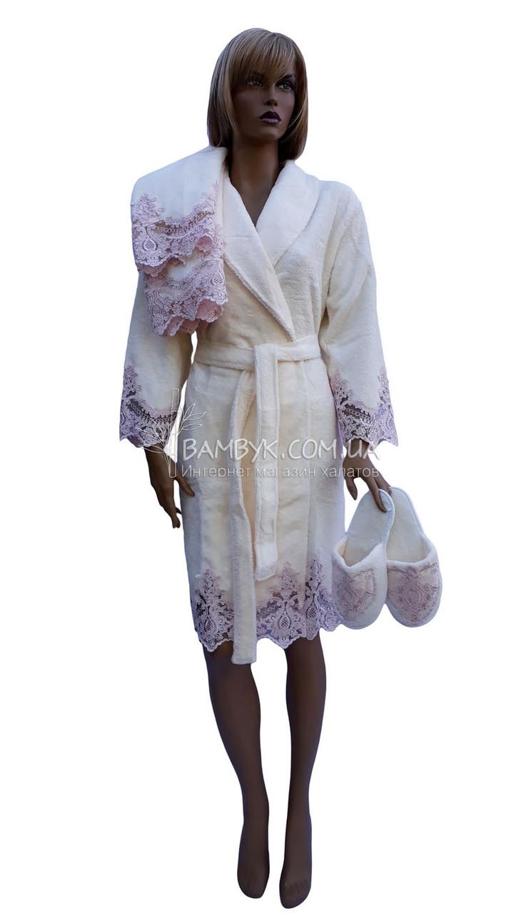 Женский подарочный набор Nusa (халат+тапочки+полотенце) № 3875