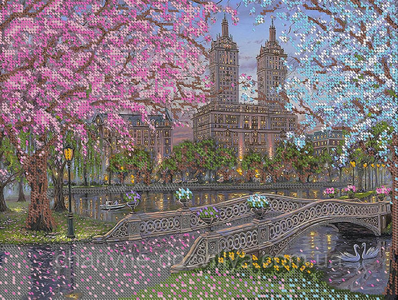 """Схема для вышивки бисером пейзаж """"Вечер в парке"""""""
