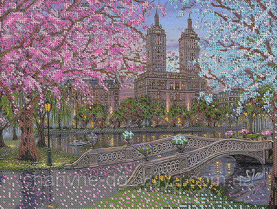 """Схема для вышивки бисером пейзаж """"Вечер в парке"""", фото 2"""