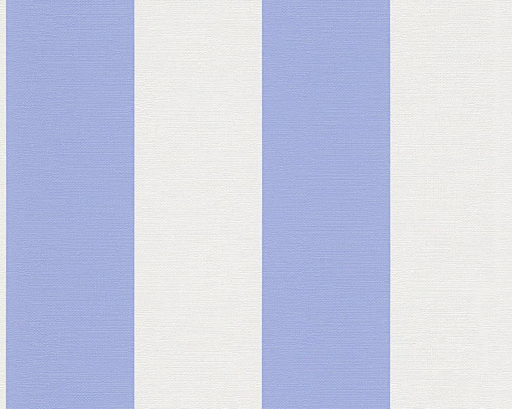 Обои виниловые, с широкой голубой полосой 340104.