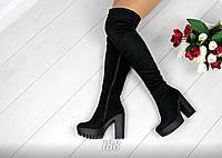 Только 40 размер! Ботфорты женские черные на широком каблуке