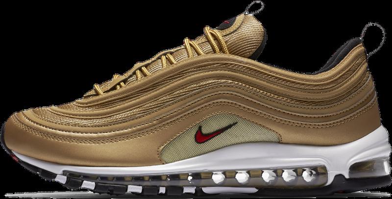 Кроссовки мужские Найк Nike Air Max 97 Premium Gold . ТОП Реплика ААА класса.