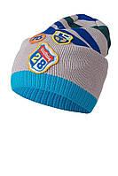 Полосатая вязаная шапочка c нашивками для мальчика от ANPA Польша