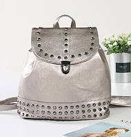 Рюкзак женский кожаный с заклепками (серебристый), фото 1