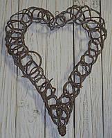 Серце підвісне з лози коричневе 40*35 см