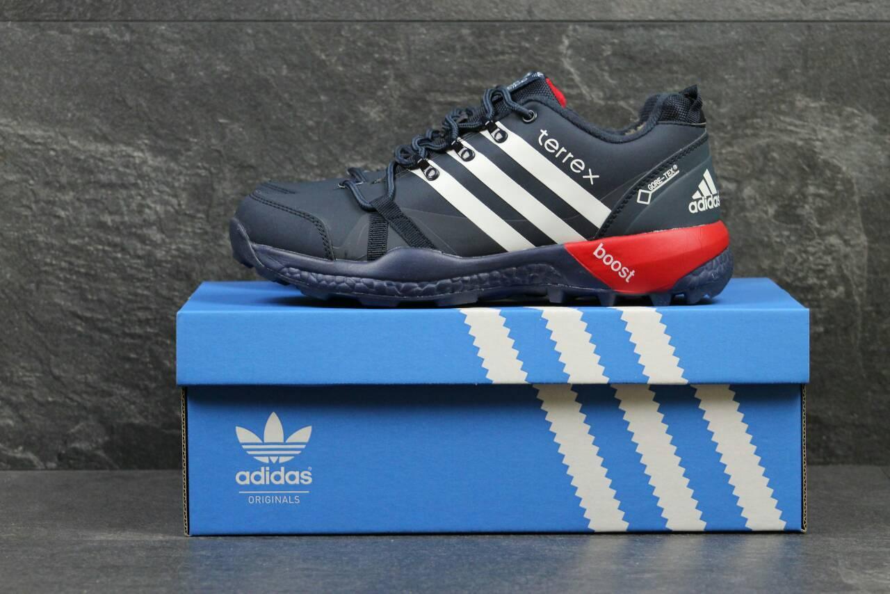 Не дорогие зимние кроссовки на меху, со шнурками, от популярной фирмы -  Adidas, b3bfffb93aa