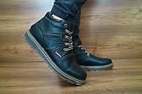 Мужские зимние ботинки с нат.кожи Levi's Черные 10447 размеры: 40 41 42 43 44 45