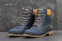 Мужские кожаные зимние ботинки Timberland синие (3281)