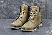 Мужские кожаные зимние ботинки Timberland оливковые (3282)