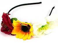 Дизайнерский обруч с цветами 3 цвета
