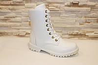 Ботинки женские белые на шнуровке Д509 р 37,38