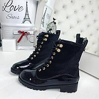 Женские черные ботинки бархат эколак копия бренда