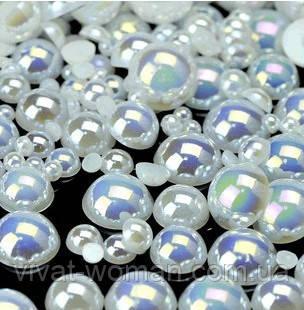 Напів-перли White AB, 5 мм. Ціна за 100 шт