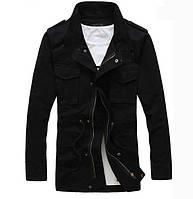 Мужская осення куртка на флисе (черная)