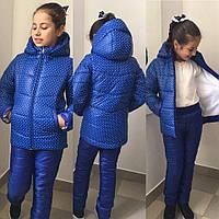 Зимний теплый костюм детский для девочки на флисе и синтепоне , фото 1