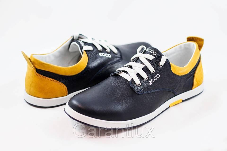 0e23f7b5 Мужские кожаные туфли кроссовки ECCO синие размеры 40, 41, 42, 43, 44, 45