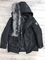 Мужская зимняя куртка-пальто с капюшоном (черная)