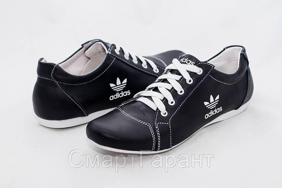 6359dee7e Мужские кожаные туфли мокасины кроссовки Adidas черные размеры 40, 41, 42,  43,