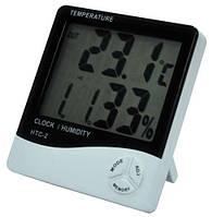 Гигрометр - термометр - часы будильник с выносным датчиком HTC-2