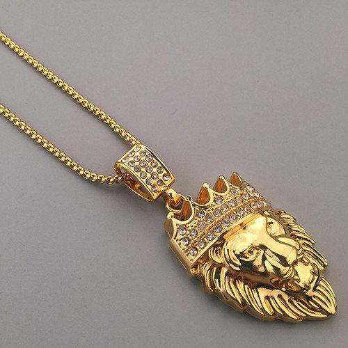 Подвеска Лев с короной золотистая оригинальная