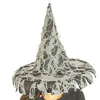 Шляпа Ведьмы Bestoyard в лоскутах 56см (черная с серым) 260917-119