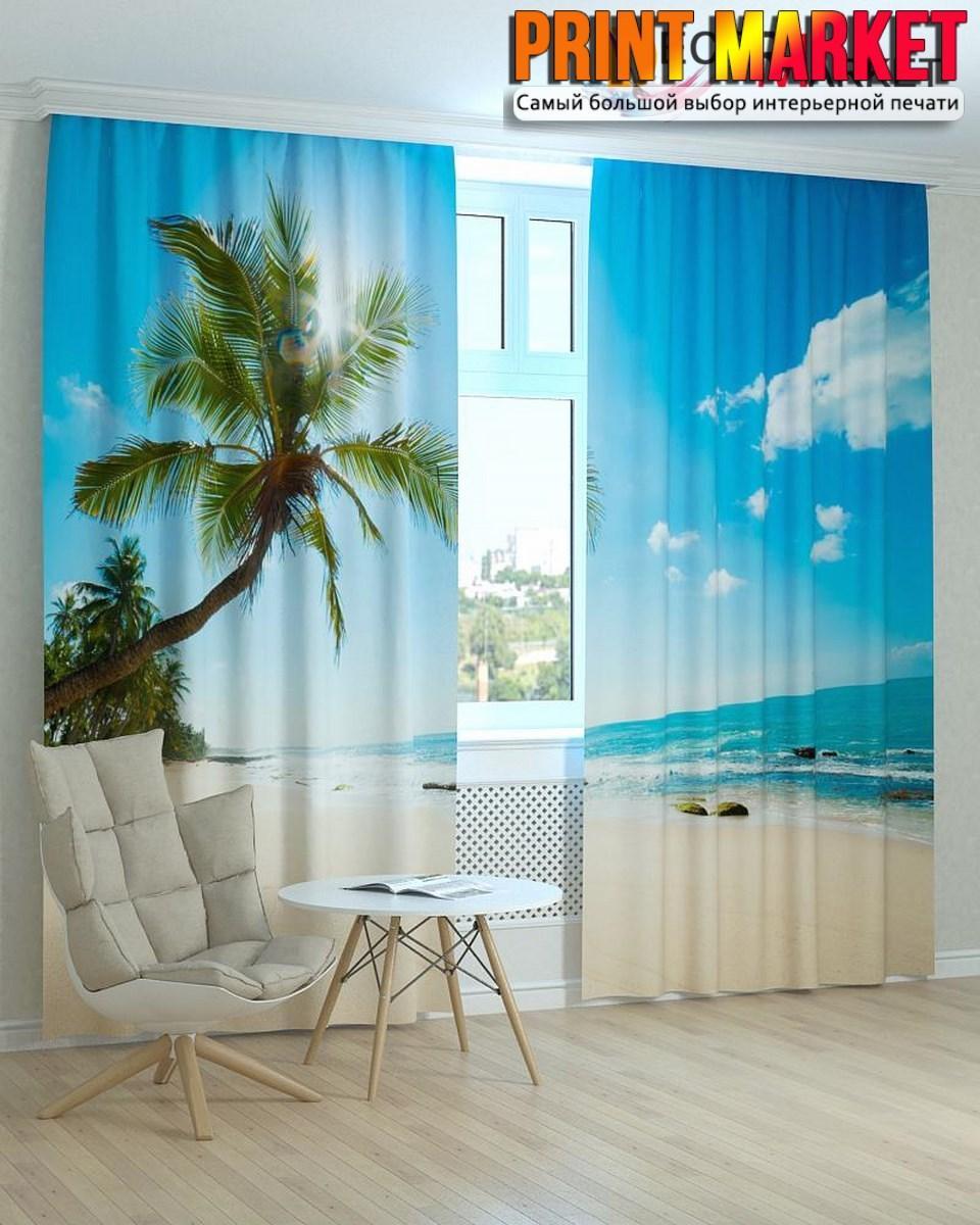 Фотошторы пальма над океаном