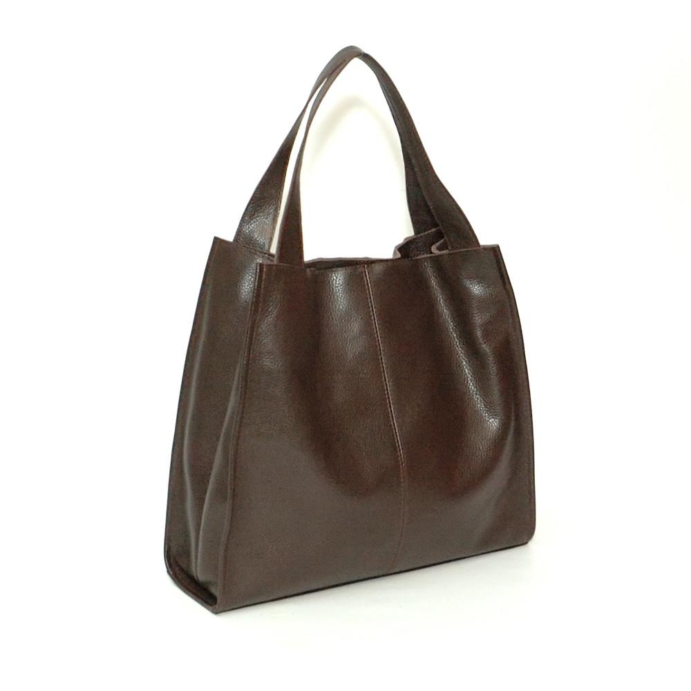 Женская кожаная сумка 12 черный шоколад 01120106