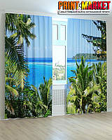 Фотошторы пальмы и вода 3D