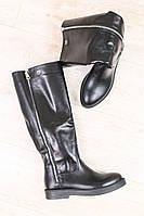 Демисезонные сапоги женские кожаные на низком ходу, черного цвета