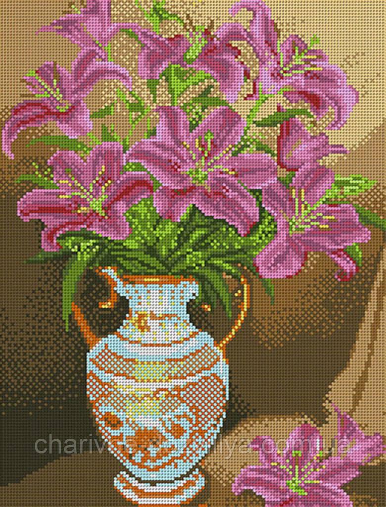 """Схема для вышивки бисером букет """"Розовые лилии"""""""