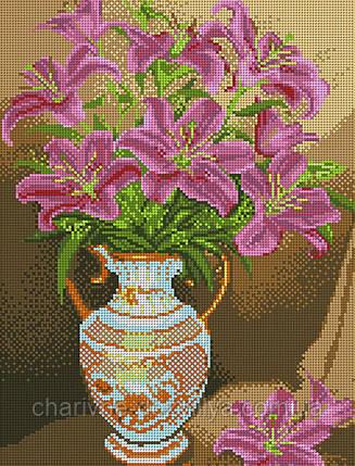 """Схема для вышивки бисером букет """"Розовые лилии"""", фото 2"""