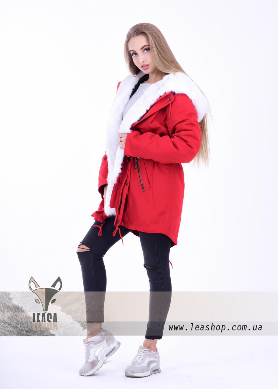 Молодежная куртка парка с белым мехом кролика