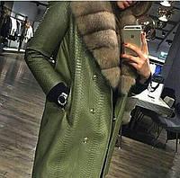 575dee1fd44 Рассрочка Пальто из меха питона с лесной куницей