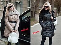 Пуховик-пальто женское модное асимметричного кроя с воротником из натурального меха 3 цвета Gm185