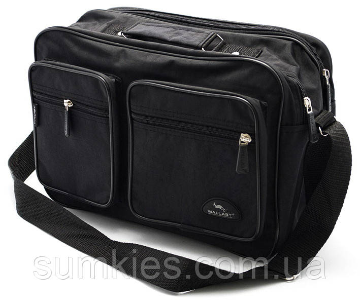 a5d24512c259 Мужская сумка Wallaby 2647 черная барсетка через плечо папка портфель А4  35х24х15см