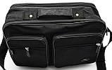 Мужская сумка барсетка через плечо папка портфель А4 в2647 черная армированная жатка 35х24х15см, фото 2
