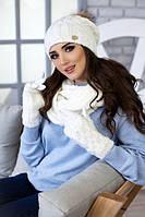 Зимний женский комплект «Афина» (шапка,снуд и перчатки) Белый