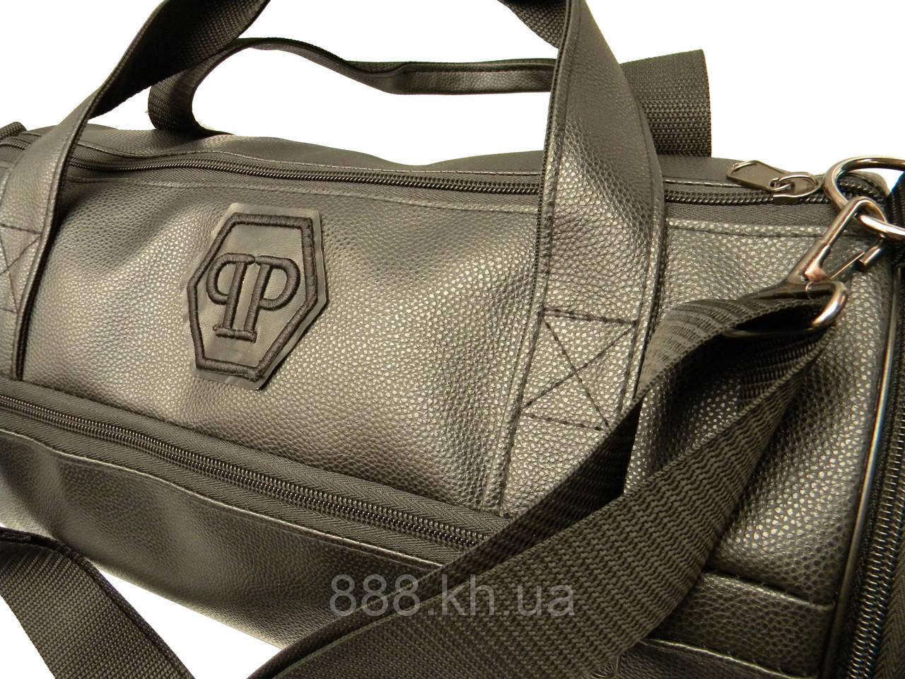 Кожаная сумка бочка Philipp Plein, черная мужская сумка PP, женская сумка для тренировок Филипп Плейн